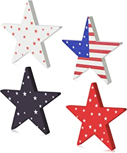 4 Pcs Patriotic Star Table Decorations 4th of July Wooden Table Centerpiece Sign Home Tabletop Decor for American Independence Day Celebration Decorations