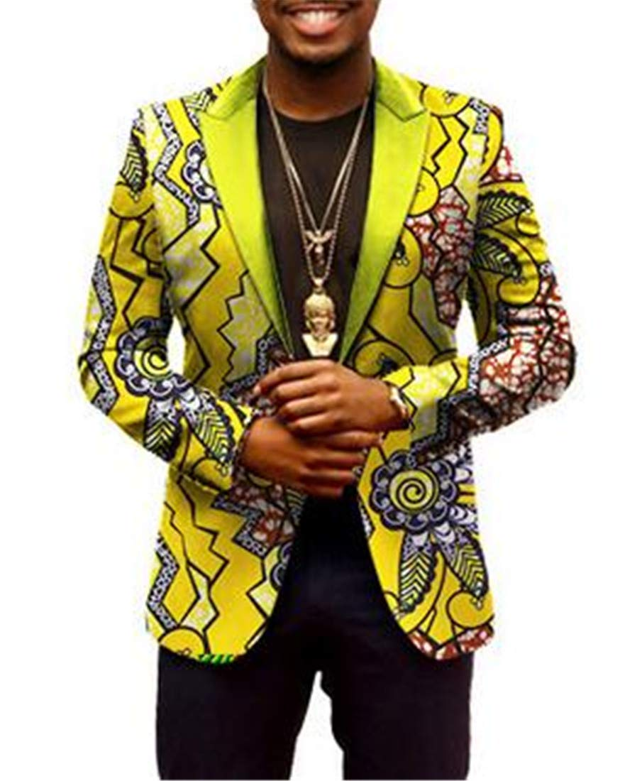 Domple Mens One Button Ethnic Style Slim Fit African Print Sport Coat Blazer Jacket Four US 2XL