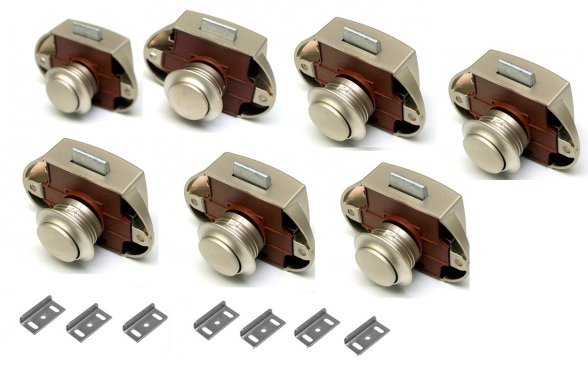 Premium Push Lock Schlö sser - 7er Set - silber (vernickelt) Freizeit Wittke