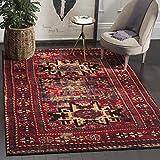 Safavieh VTH213A-8 Vintage Hamadan Collection Area Rug, 8' x 10', Antiqued Red & Multicolor