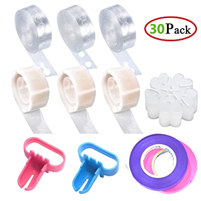 30-Pieces Balloon Decorating Strip Kit for Arch Garland - 3 Rolls Balloon Tape Strip, 3 Rolls 100 Dot Glue, 20Pcs Flower Clip, 2 Rolls Ribbon, 2Pcs Tying Tool for Wedding Party Baby Shower Decoration: Toys & Games