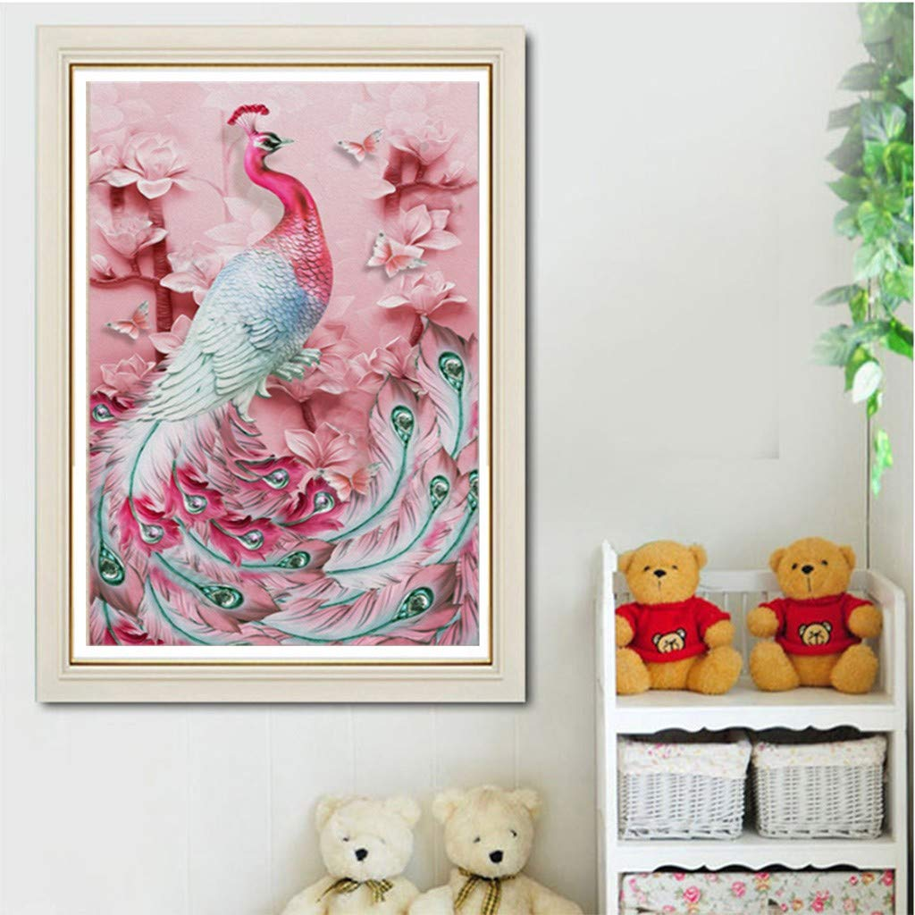 Peacock Full Drill Rhinestone Embroidery Painting Crystals Pasted Handcraft Cross Stitch Handiwork Kits Visual Arts Home Decor vmree DIY 5D Diamond Picture