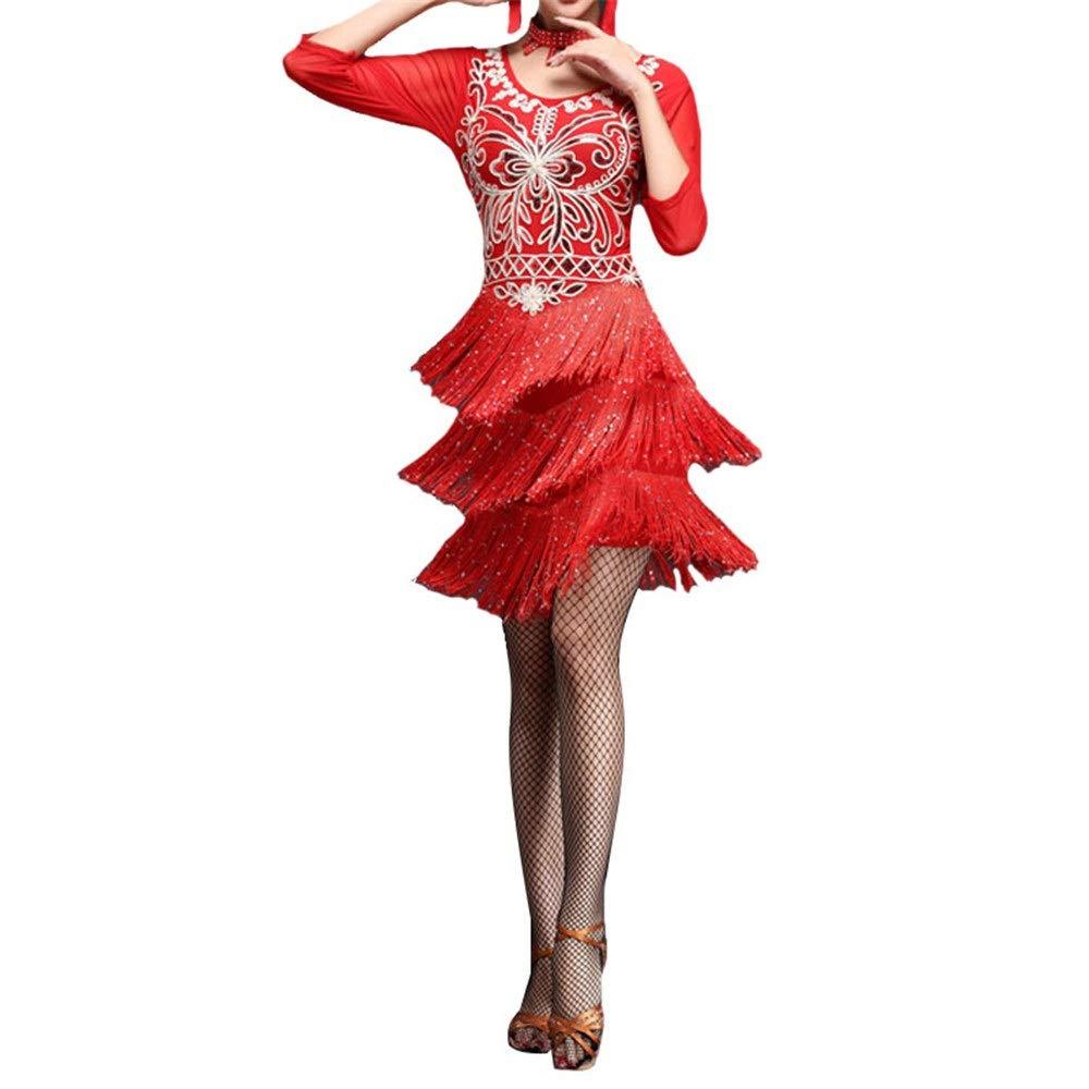 Rouge SUPRIEE Costume Latin, Femmes Mousseux Sequin Fleur Frangé Flapper Robe De Danse Latine à Manche Manches Glands Salle De Danse Danse Danse Compétition Danse Costumes De Perforhommece pour Les Femmes M