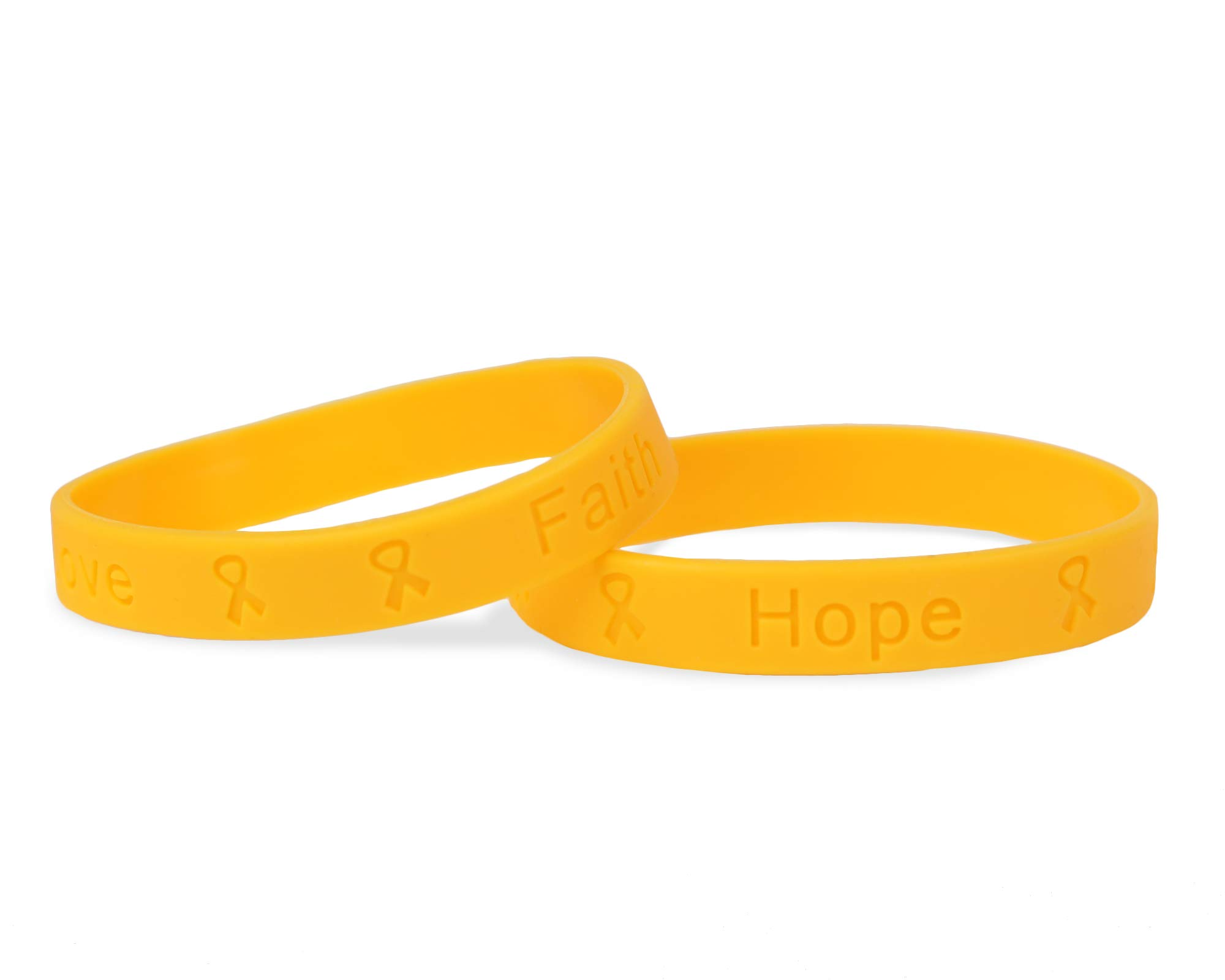25 Pack Child Gold Silicone Bracelets - Child Size (Wholesale Pack - 25 Bracelets)