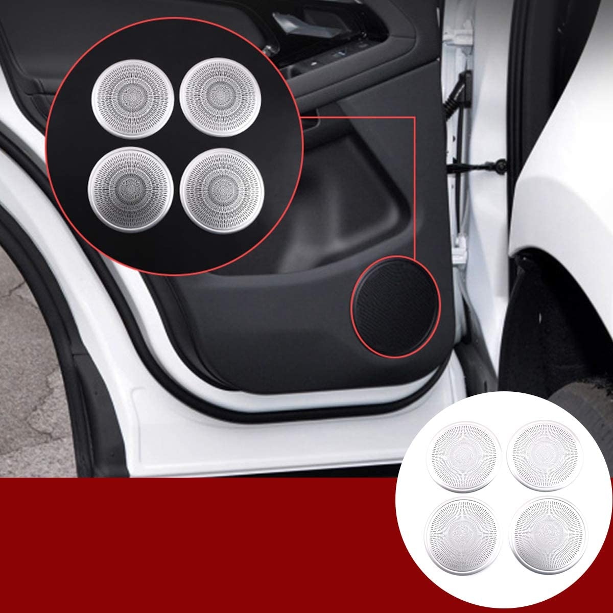YIWANG Aluminum Alloy Car Door Tweeter Speaker Cover Trim 4pcs for Land Rover Range Rover Evoque 2019 2020 Auto Accessories