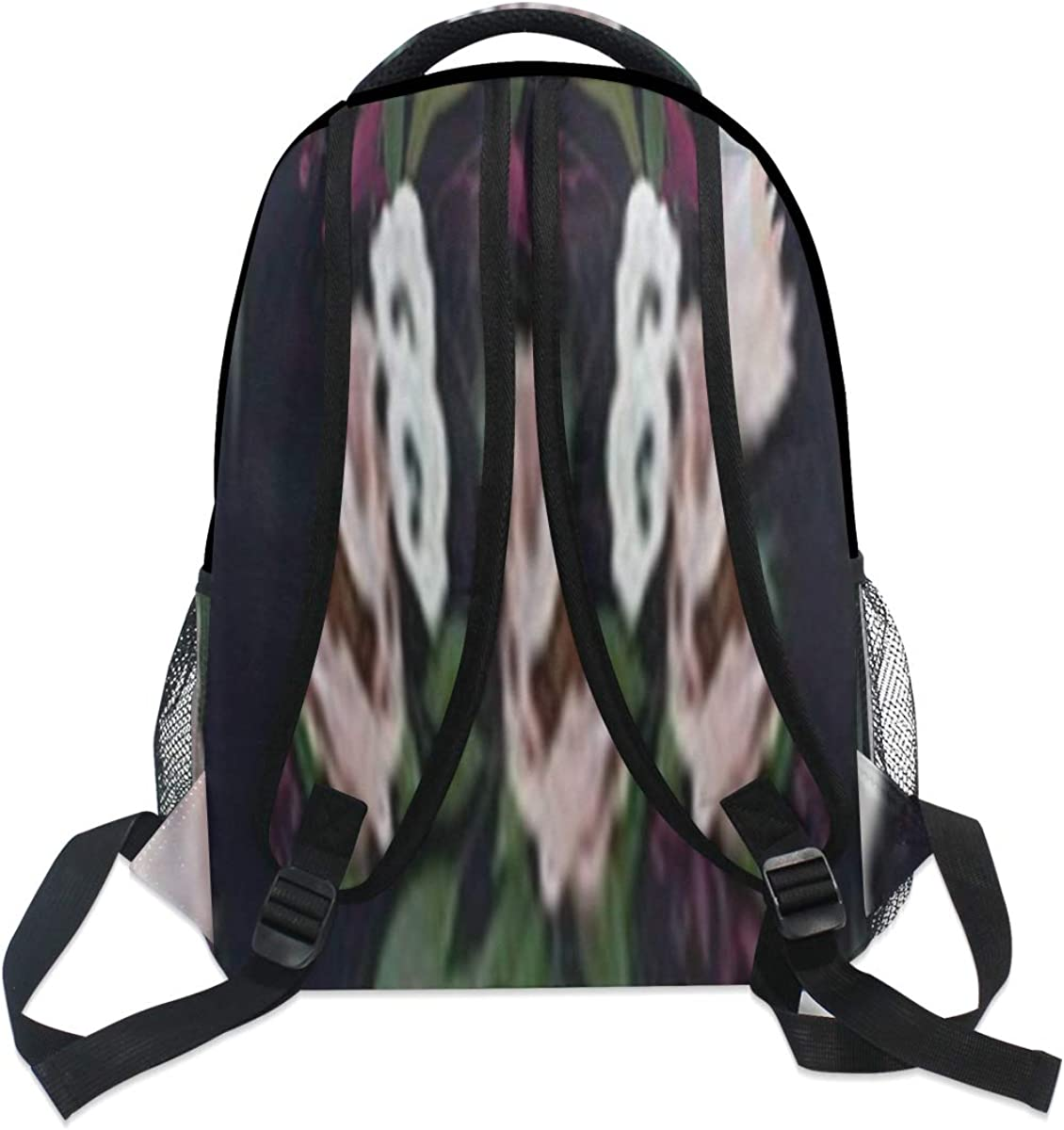 Backpack Bag Romantic Dark Pattern Composed Painted Flowers Backpack For Women Waterproof Casual Daypacks For Young Girls