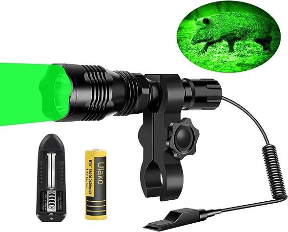 Ulako 250 Yards Range Green Light Flashlight with Scope Sight Mount for Coyote Hog Pig