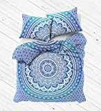 Exclusive Blue Ombre Mandala Duvet Cover with Pillowcases by Madhu International, Ombre Mandala Quilt Cover, Donna Cover