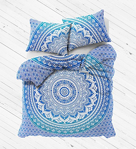 Exclusive Blue Ombre Mandala Duvet Cover with Pillowcases by Madhu International, Ombre Mandala Quilt Cover, Donna Cover by Madhu International