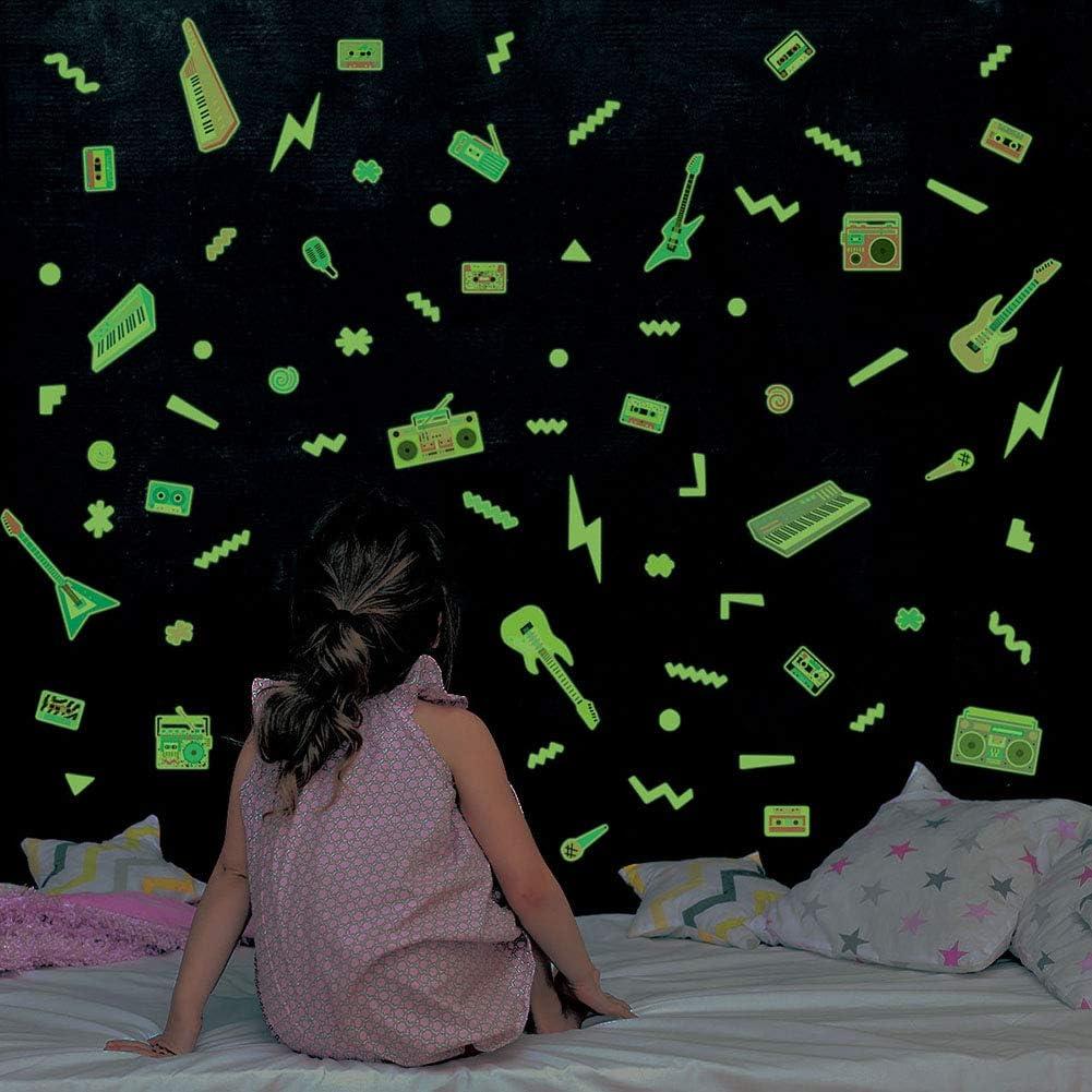 para ni/ños y ni/ñas Arco iris y corazones dise/ño de estrellas fluorescentes para la pared Pegatinas luminosas que brillan en la oscuridad Prosperveil