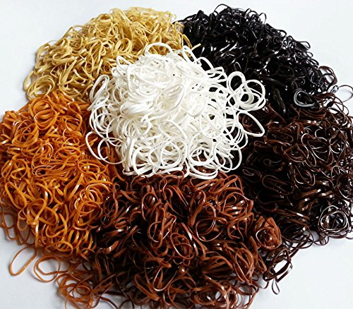 1000pcs Small Pink Rose & Brown Coffee Colors Bands for Dog Grooming Top Knots, Bows, Braids and Dreadlocks