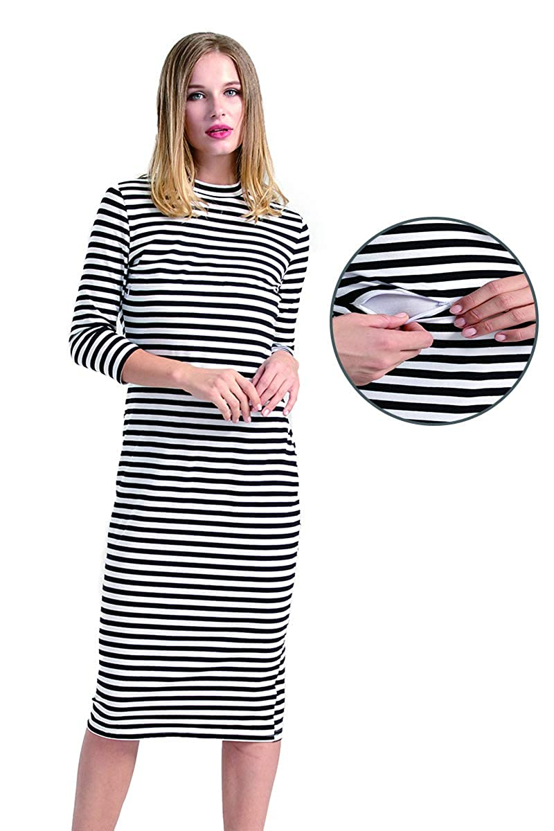 Sosolism Maternity Nursing Dress Zipper Design Pullover Stripe Pocket Sweatshirt Causal Hoodie Dresses SB037