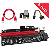 PCIE Riser 1X TO 16X Graphics Extension for GPU Mining Powered Riser Adapter Card, 60cm USB 3.0 Cable, 4 Solid Capacitors, Two 6PIN and Molex 3 Power Options (VER 009S, 6-Pack)