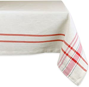 """DII 100% Cotton, Machine Washable, Everyday French Stripe Kitchen Tablecloth For Dinner Parties, Summer & Outdoor Picnics - 60x104"""" Seats 8 to 10 People, Red"""
