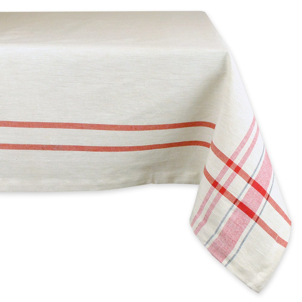 DII 100% Cotton, Machine Washable, Everyday French Stripe Kitchen Tablecloth For Dinner Parties, Summer & Outdoor Picnics - 60x84'' Seats 6 to 8 People, Red