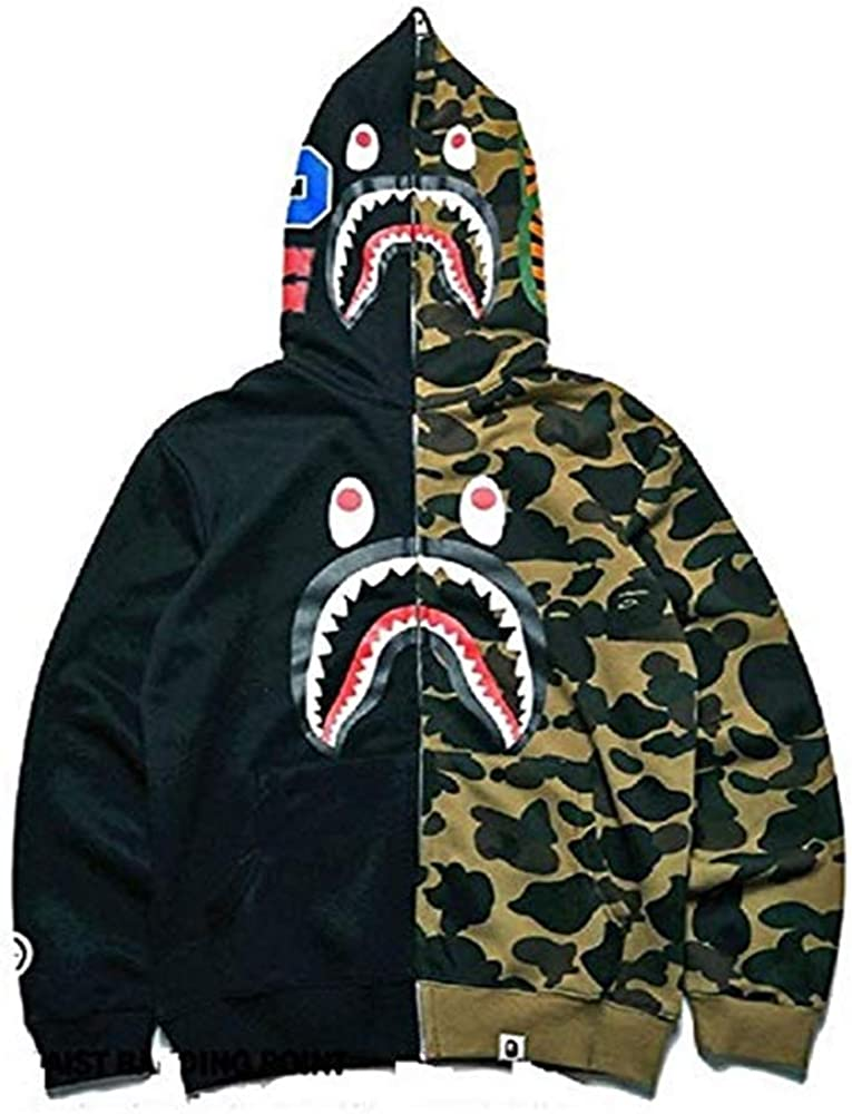 New Bathing Ape Jacket Shark Head Camo Full Zip Hoodie Long Sleeve Jacket
