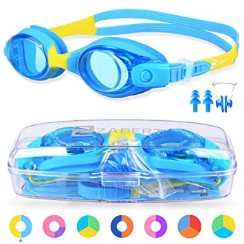 199c494282f ZABERT K1 Kids Swimming Goggles For Girls Boys Junior Childs Children  Toddler Age 0-6 4-6 6-14 Years Old Swim Goggles Blue Yellow
