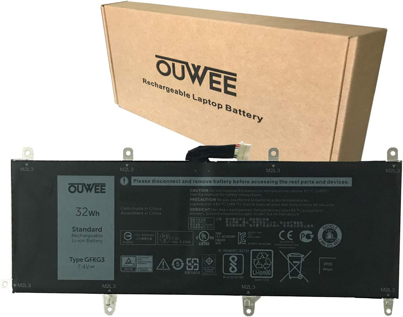 OUWEE GFKG3 Laptop Battery Compatible with DELL Venue 10 Pro 5056 Tablet Series Notebook WH96V VN25R 0VN25R 7.4V 32Wh 4220mAh