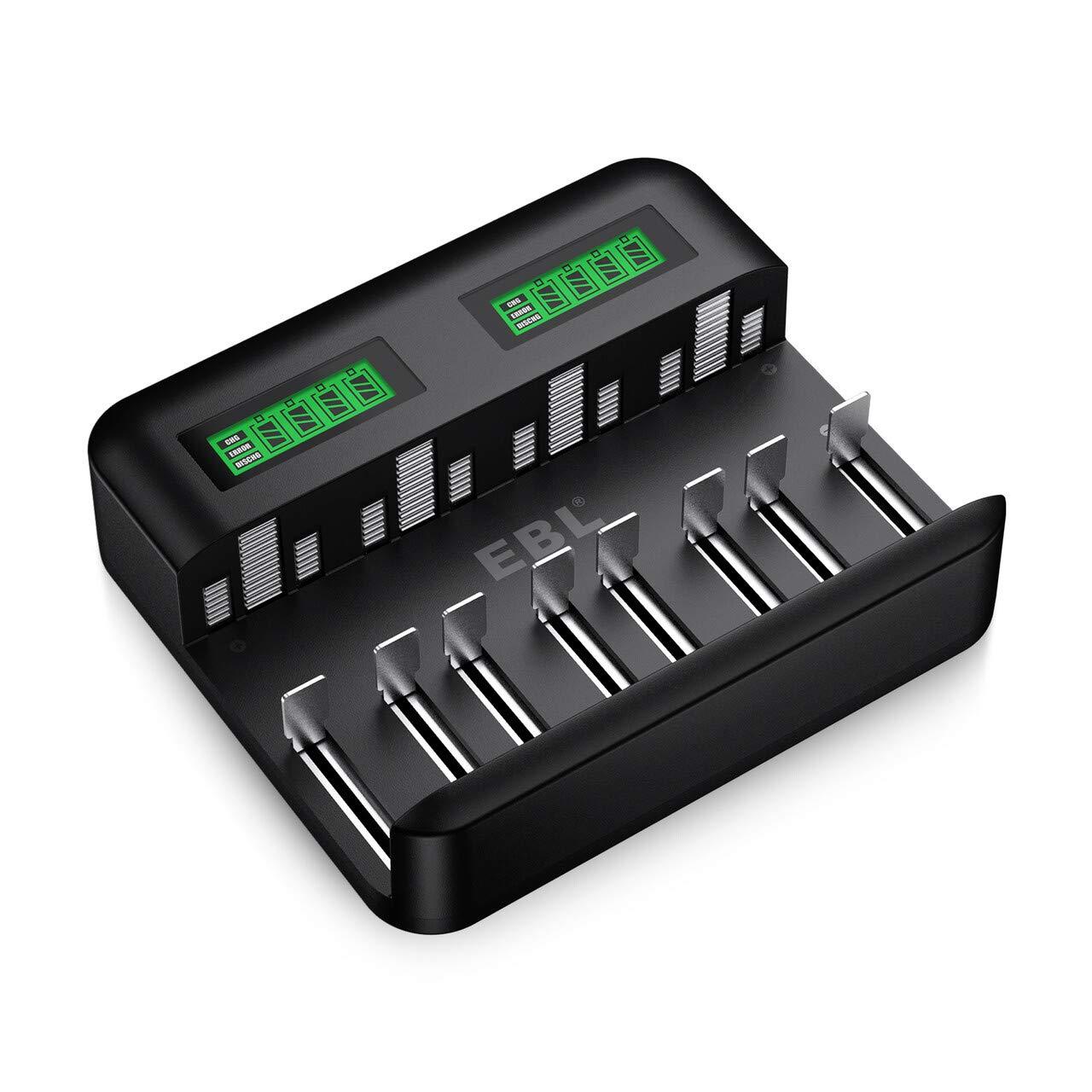 EBL Inteligente Cargador de Pilas, Cargador de batería de Ni-MH NI-CD AA AAA C D, Universal Carga Rápida con Tipo C/Micro USB, Pantalla LCD, Ranura Independiente y Auto-Detección