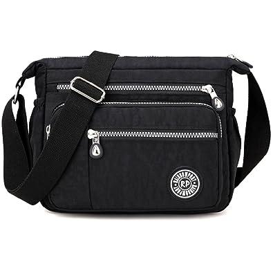 9c83acb9ed7 Leisure Waterproof Nylon Messenger Bags Cross Body Shoulder Bags Casual  Multi Pocket Handbag Tote Purse Handbag