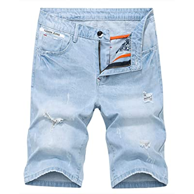Men's Denim Shorts Jeans Pants 5 Pocket Casual Ripped Distressed Slim Fit for Men at Amazon Men's Clothing store