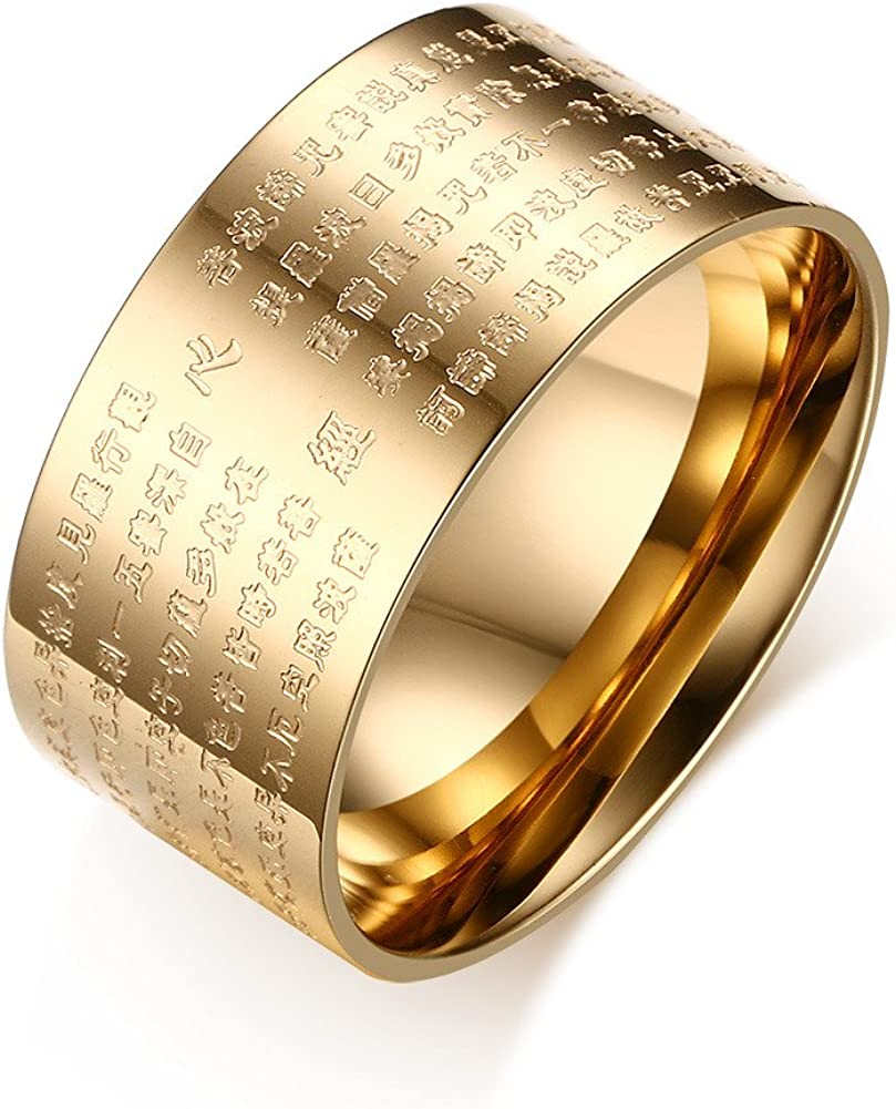 10mm Wide Stainless Steel Chinese Heart Sutra Engraved Buddhist Ring Buddhism Bands Amulet Jewelry for Men