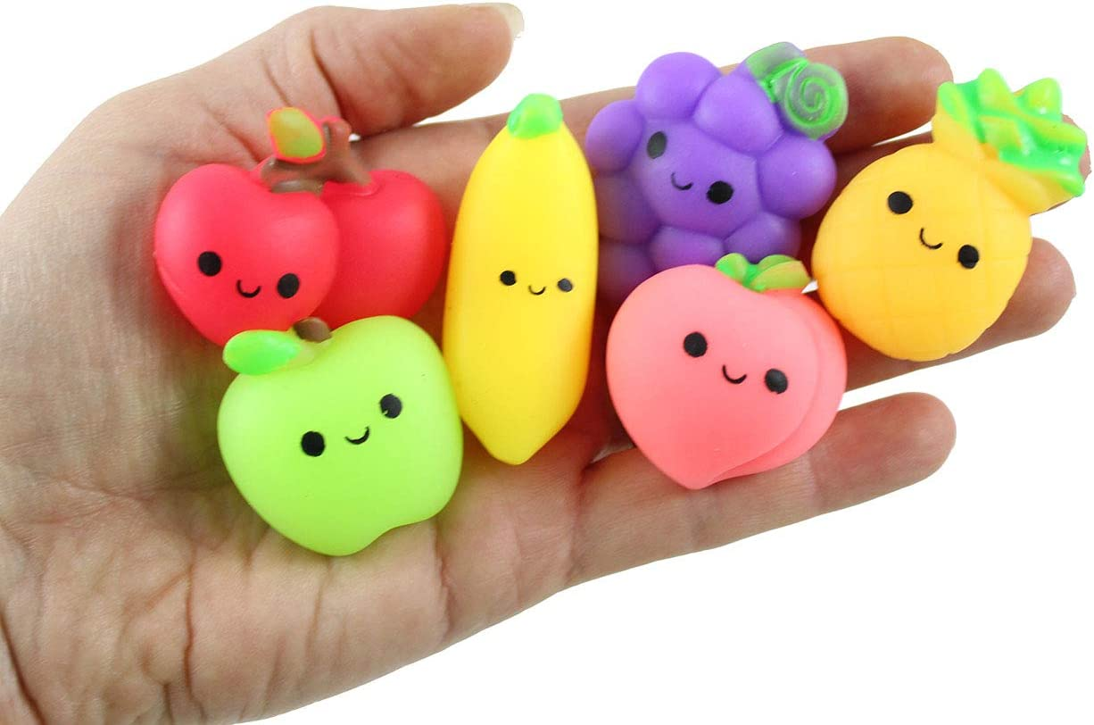 Curious Minds Busy Bags Set of 24 Fruit Mochi Squishy - Adorable Cute Kawaii - Cute Individually Wrapped Toys - Sensory, Stress, Fidget Party Favor Toy (Set of 24 (2 Dozen))
