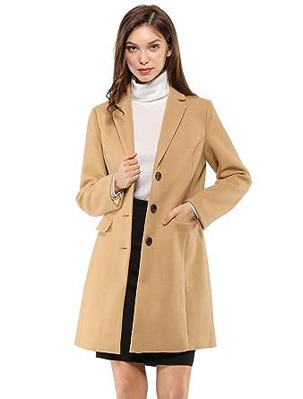 c5ca875ad2b Allegra K Women s Notched Lapel Single Breasted Outwear Winter Coat XS Brown