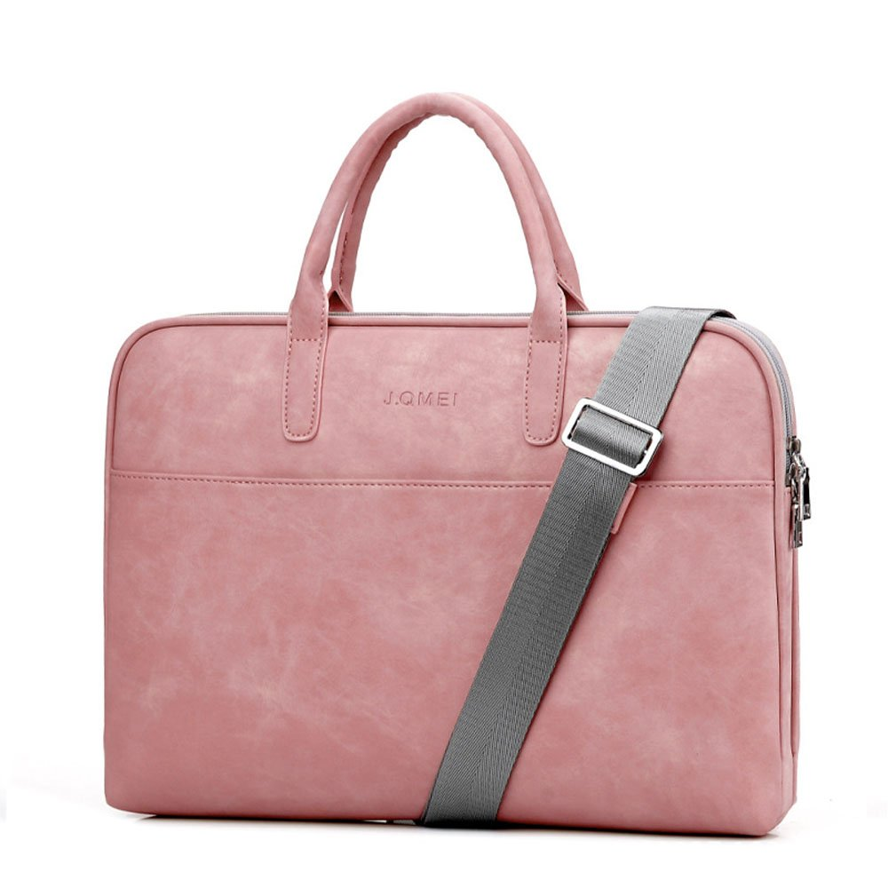 "Fashion PU Leather Women Men Notebook Bag Laptop Bag Briefcase Crossbody Messenger Bags Satchel Purse Fit 14"" 15.6"" Pink Black Red (14 inch, Pink) good"