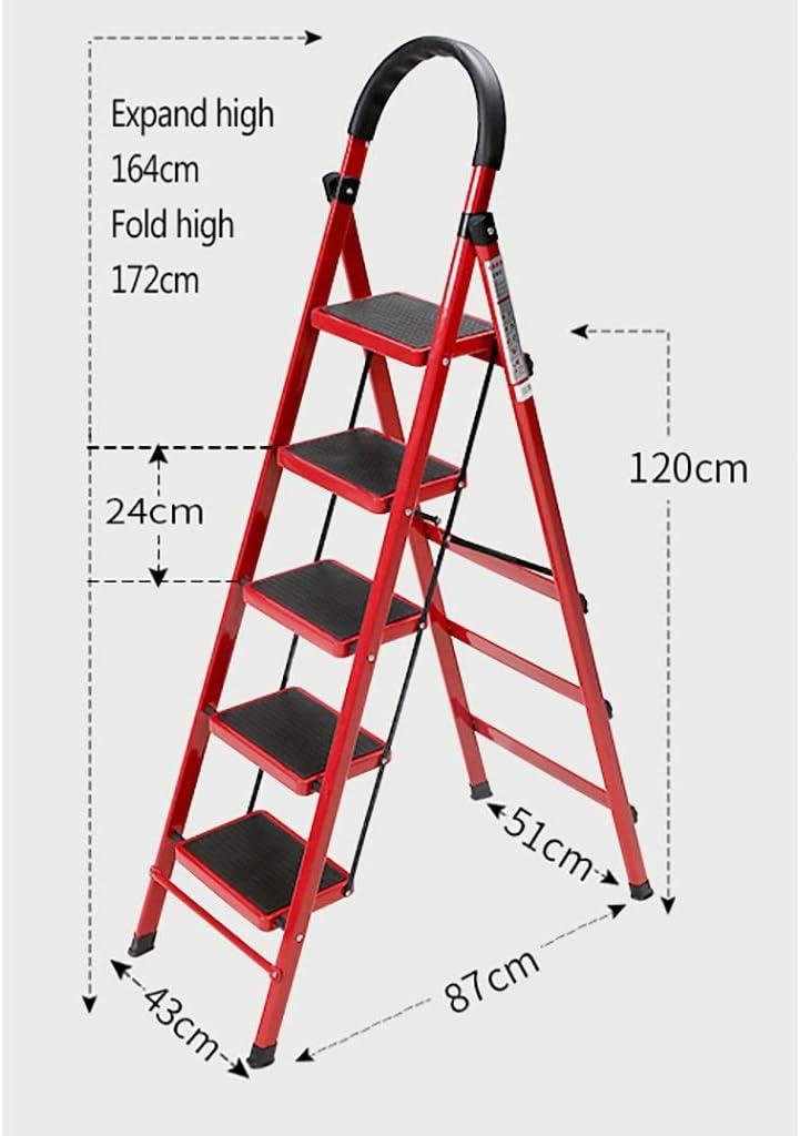 Color : A, Size : 3-Step Ladder Haushalts-Trittleiter 3-Stufen- // 4-Stufen- // 5-Stufen-Stahlklappleiter klappbarer Metall-Trittleiter rutschfester Klapptritt praktischer Fu/ßhocker