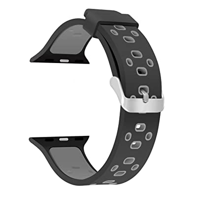 42mm Soft Silicone Replacement Band Sport Strap with Ventilation Holes for Apple Watch Nike+, Series 3/2/1, Sport, Edition