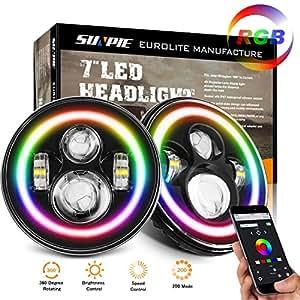 Amazon Com 7 Quot Led Headlight Lamp With Rotating Rgb Halo