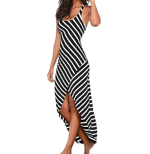 Tomatoa Damen-Frauen-Kleid-beiläufiges Kleid-Sleeveless Streifen-lose Kleid- Strand-Kleid unregelmäßig  Amazon.de  Schuhe   Handtaschen dba52cc51e