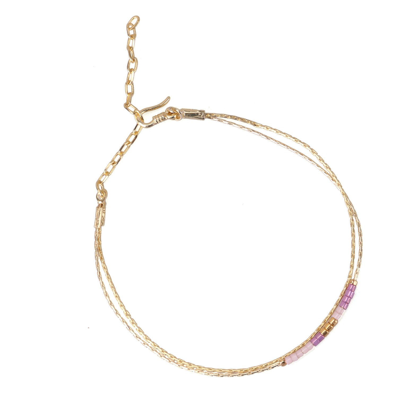 KELITCH Double Strand Seed Bead Bracelet Gold-Plated Chain Bracelet for Wommen, 36