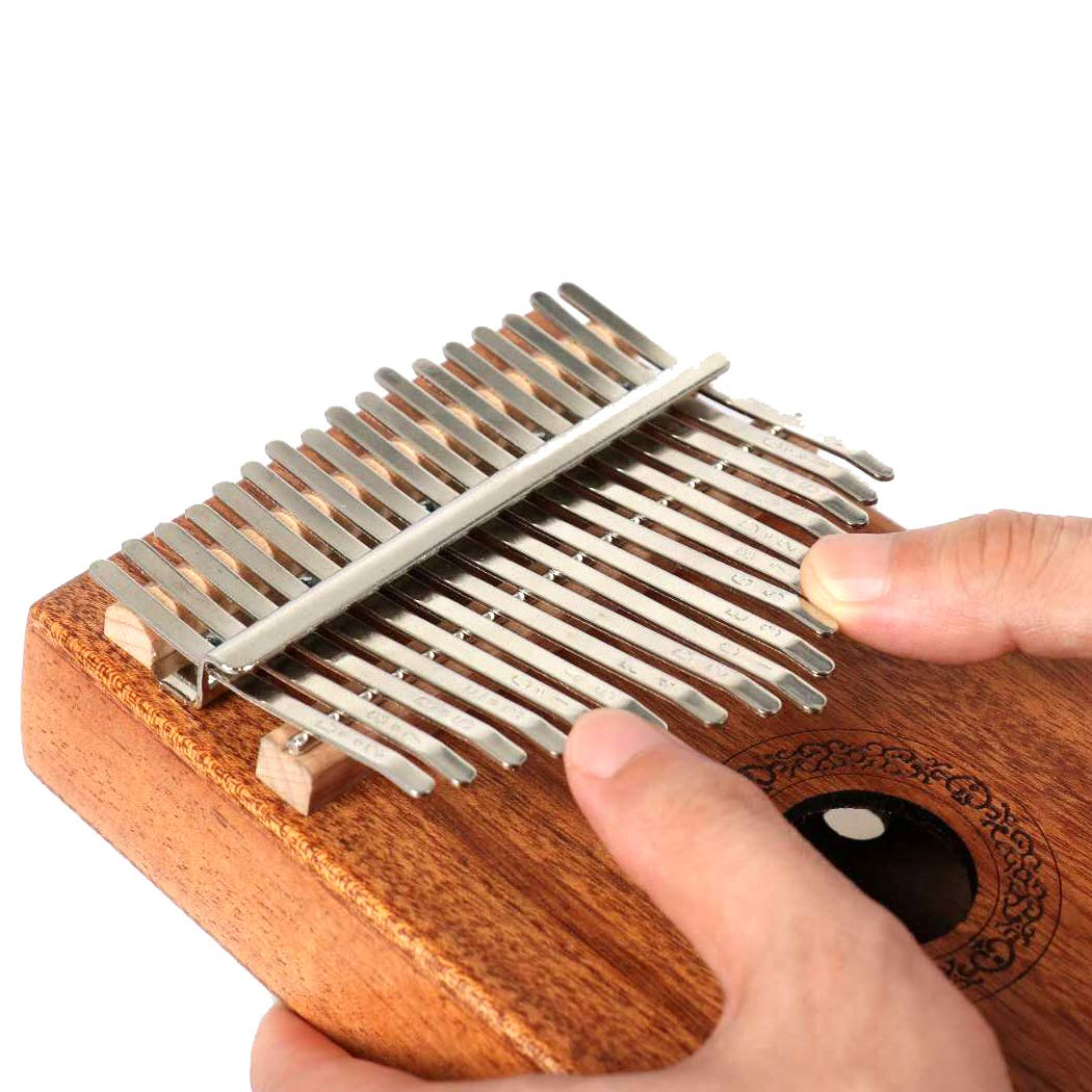 Hidear Thumb Piano Kalimba 17 keys Finger Piano Mbira 17 Tone Musical Toys with Instruction and Tune Hammer, Portable Thumb Piano Mahogany Body Ore Metal Tines by Hidear (Image #4)