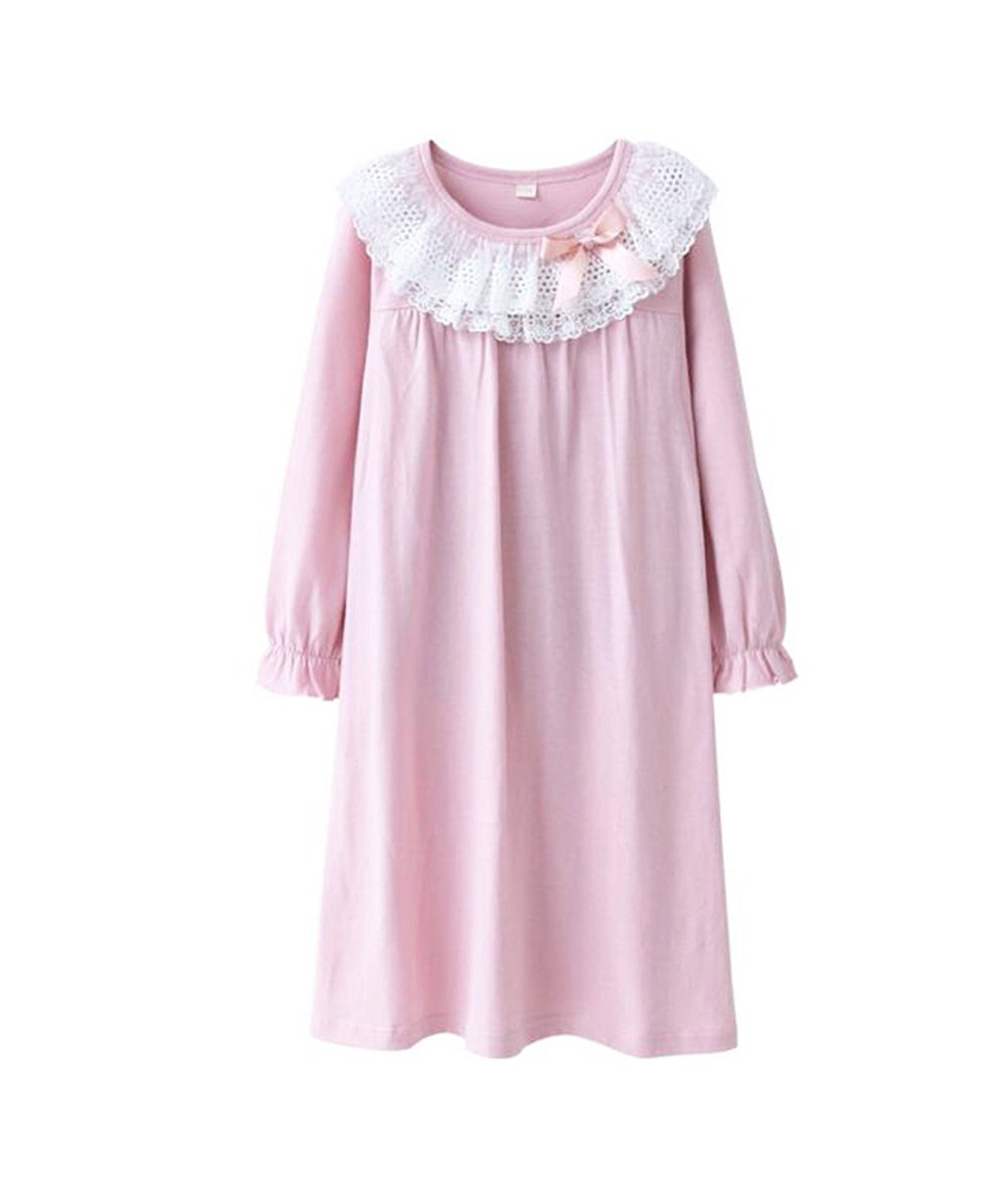 UQ Little Girls' Lace Nightgowns & Bowknot Sleep Shirts 100% Cotton Sleepwear for Toddler 3-9 Years