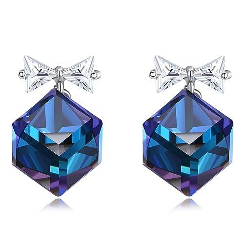 9e6a98a6d Women Earrings 925 Silver Cubic Zirconia Stud Earrings Swarovski Elements Blue  Cube Crystal Earrings