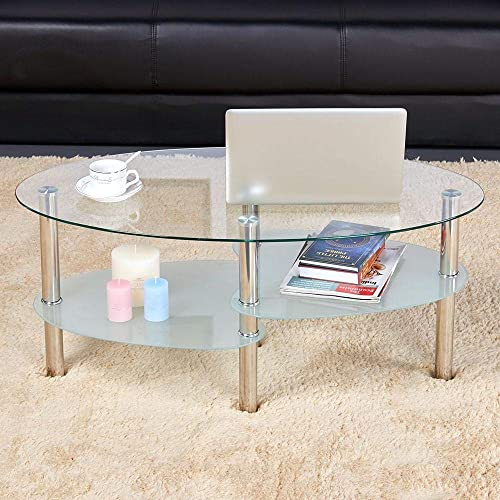 go2buy 3 Tier Modern Round Glass Top Cocktail Coffee Table Living Room Oval Glass Side End Table with Chrome Finish Metal Base Legs Furniture