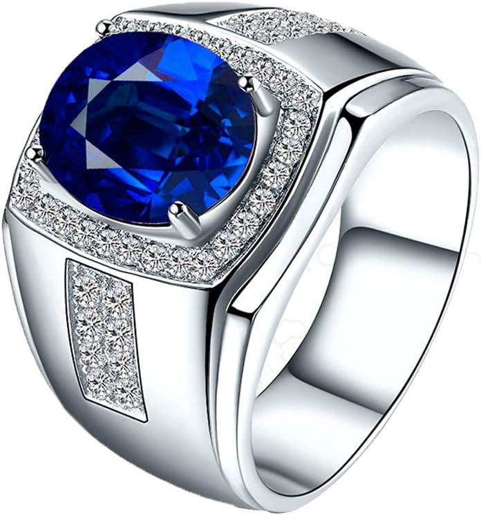 YCGEMS Solitario de 13 mm para Hombre Anillo de Compromiso clásico de Bodas con Zafiro Azul Real de 1,45 CT, Anillo de Diamante en Oro Blanco de 18 k con Relleno,J1/2