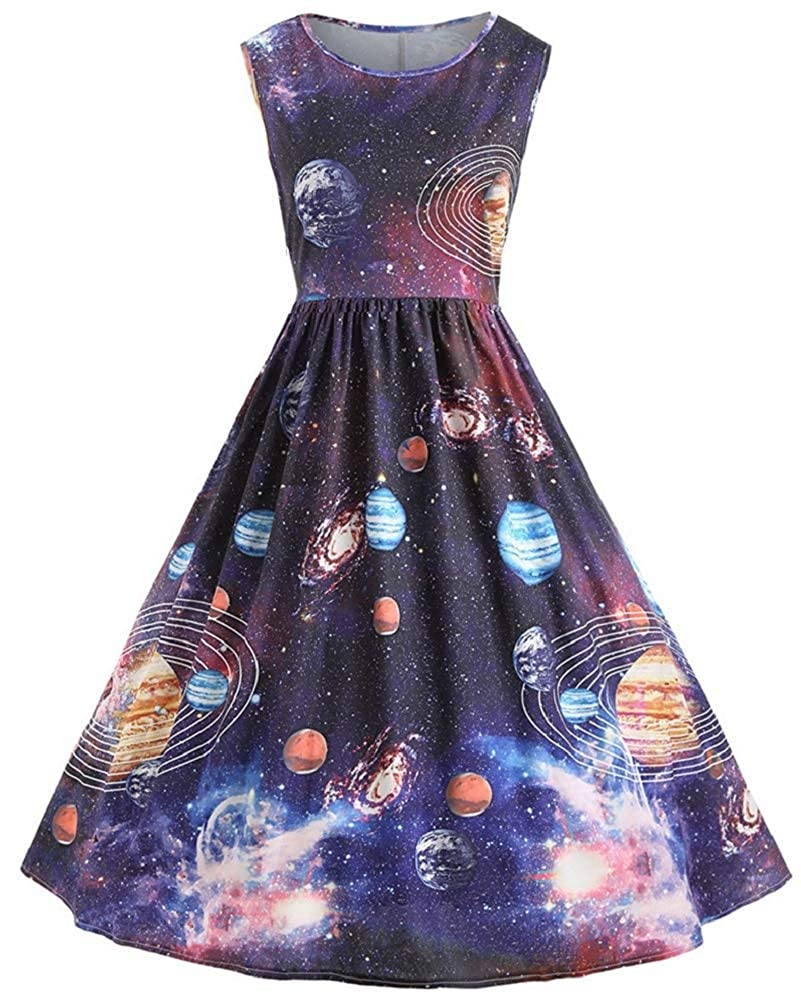 776a64ab6fca7 Nicetage Women's Vintage Sleeveless Starry Night Sky Planet Print Dress A  Line Cocktail Party Dress