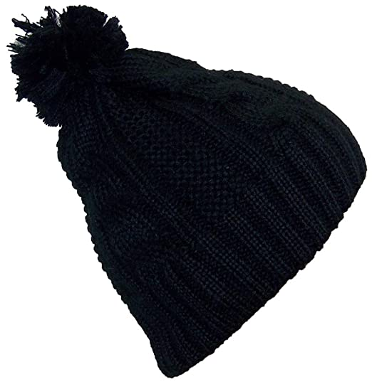 Best Winter Hats Women s Cable Knit Cuffless Winter Cap with 3 1 2 quot  Pom 96273443d64