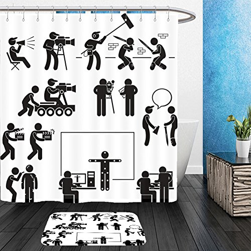 Movie Director Costume Ideas (Vanfan Bathroom 2?Suits 1 Shower Curtains & ?1 Floor Mats Director Making Filming Movie Production Actor Stick Figure Pictogram Icon From Bath room)