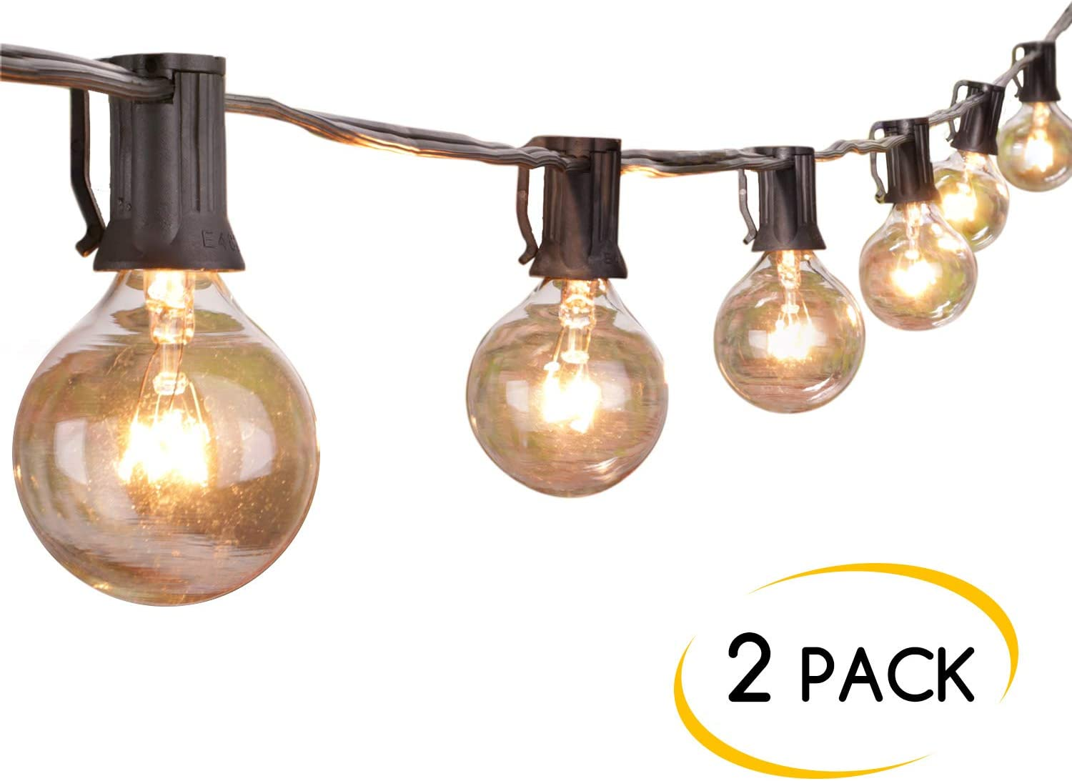 Brightown Outdoor String Lights-2 Pack 25Ft G40 Globe Patio Lights with 26 Edison Glass Bulbs(1 Spare), Waterproof Connectable Hanging Light for Backyard Porch Balcony Decor, E12 Socket Base, Black - -