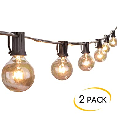 2-Pack 25Ft Outdoor Patio String Lights with 25 Clear Globe G40 Bulbs, UL Certified for Porch Backyard Deck Bistro Gazebos Pergolas Balcony Wedding Market Cafe Party Decor,Black