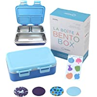 Stainless Steel Bento Lunch Box for Kids Toddlers Boys, 3 Insulated Eco Metal Portion Sections Leakproof Lid, Pre-School…