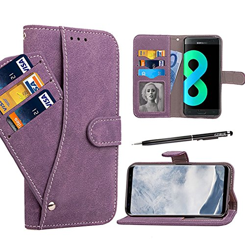 Galaxy S8 Cases, GZIRUE 6 Card Slots [Stand Feature] Magnetic Closure Vintage Matte Leather Soft TPU Book Style Folio Flip Wallet Case Cover with Rotating Card Holder for Samsung Galaxy S8 (Purple) ()