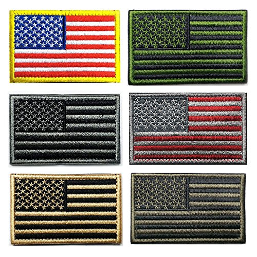 6 pieces USA Tactical Flag Velcro Patch Thin Red Blue Multicolor Line American Velcro Tags Patch (Usa Velcro)