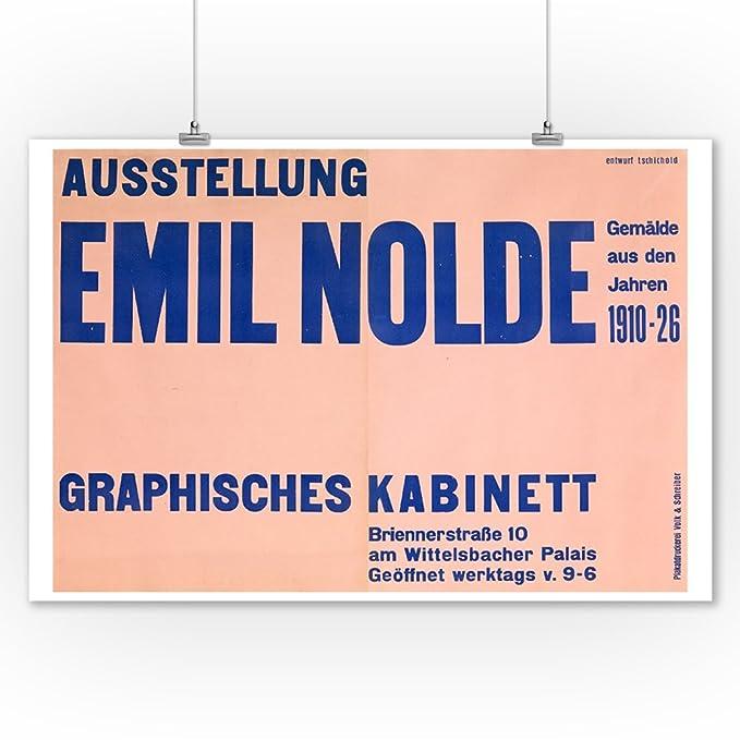 Amazon.com: Ausstellung Emil Nolde Vintage Poster (artist: Tschichold) Germany c. 1928 (9x12 Art Print, Wall Decor Travel Poster): Posters & Prints