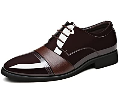 DADAWEN Herrenschuhe Herren Schnürhalbschuhe Elegant Lederschuhe Hochzeit Schuhe Berufsschuhe,Schwarz 39