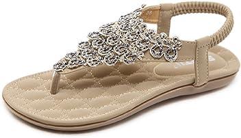 Women Bohemian Ethnic Crystal Rhinestone Flat Sandals Roman Gladiator Flip  Flops Petal Flower Shoes 676ad2433f2a